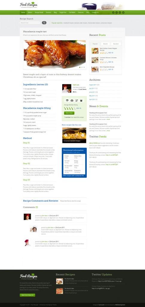 Food recipe single page